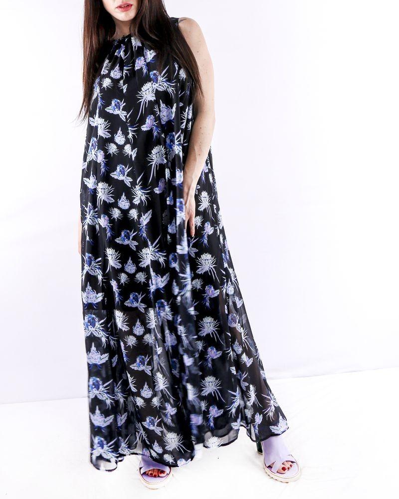 Robe longue noire à motifs fleurs du paradis Isabelle Blanche