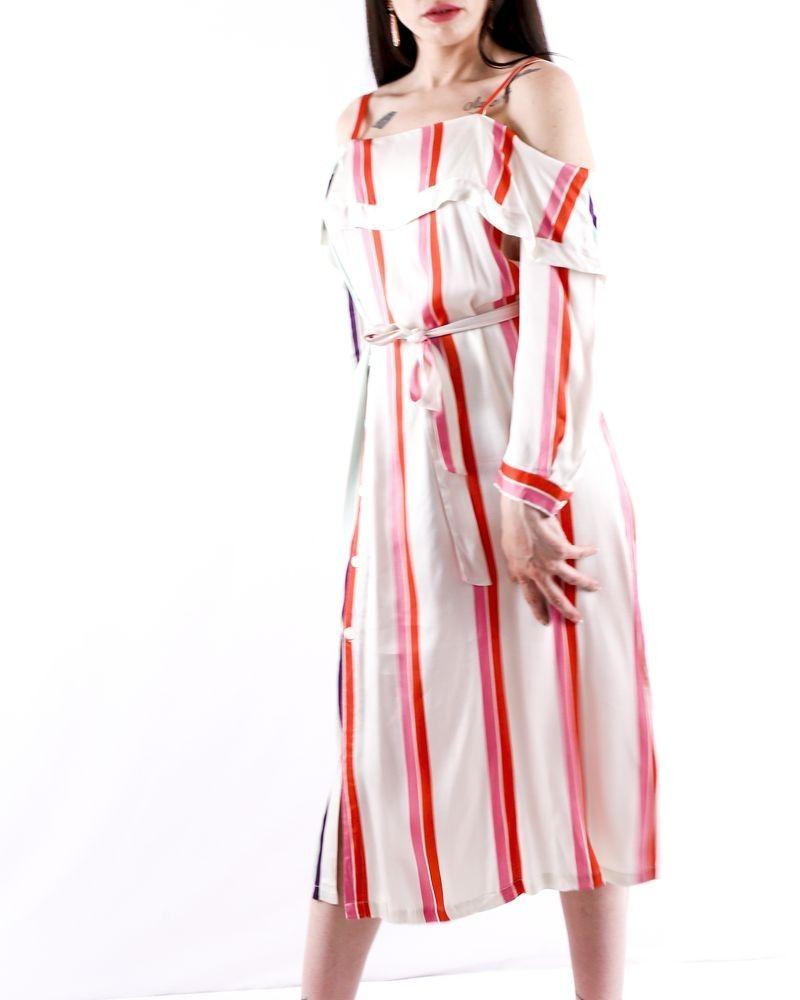 Robe façon chemise en satin blanc à rayures colorés Isabelle Blanche