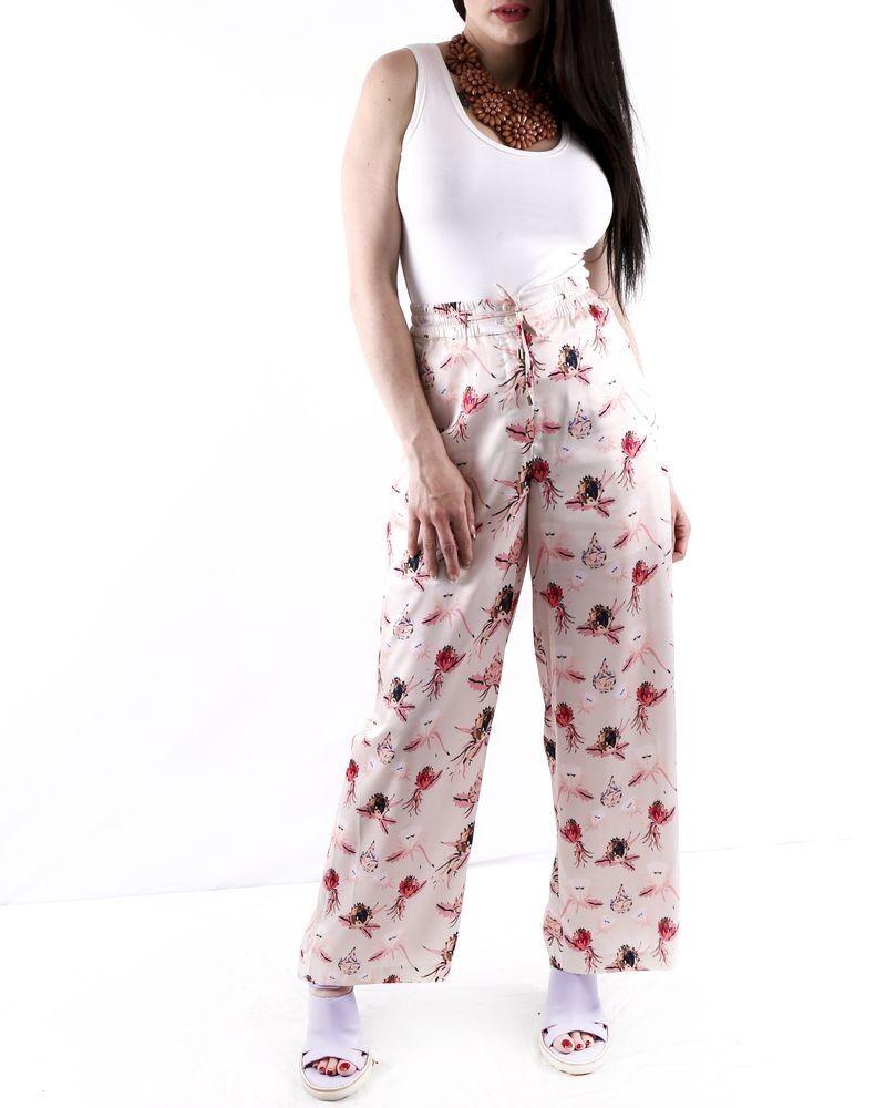 Pantalon palazzo en satin rose à motifs fleur du paradis Isabelle Blanche