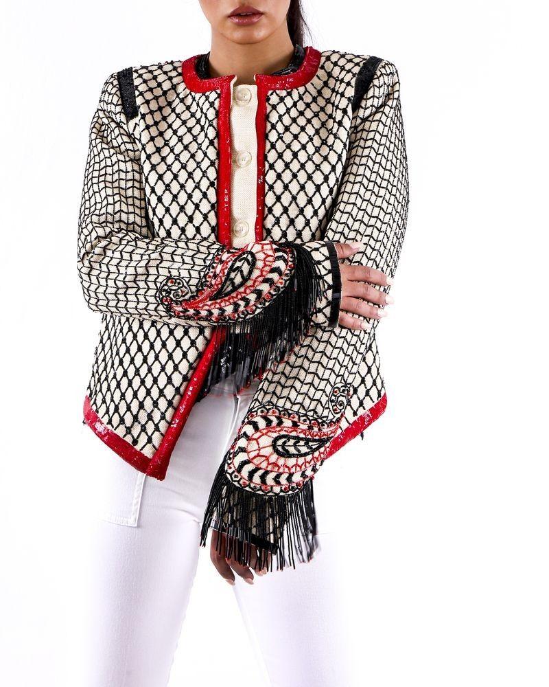 Veste en soie beige à broderies perles Roberto Cavalli
