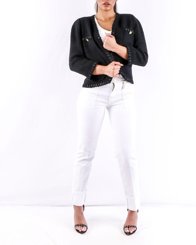 Veste en tweed noir et blanc Edward Achour pas cher Outlet