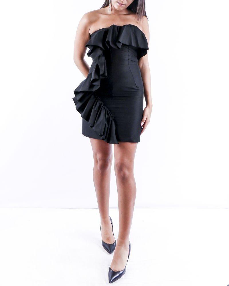 Robe de cocktail mini en crêpe noir Space Simona Corsellini