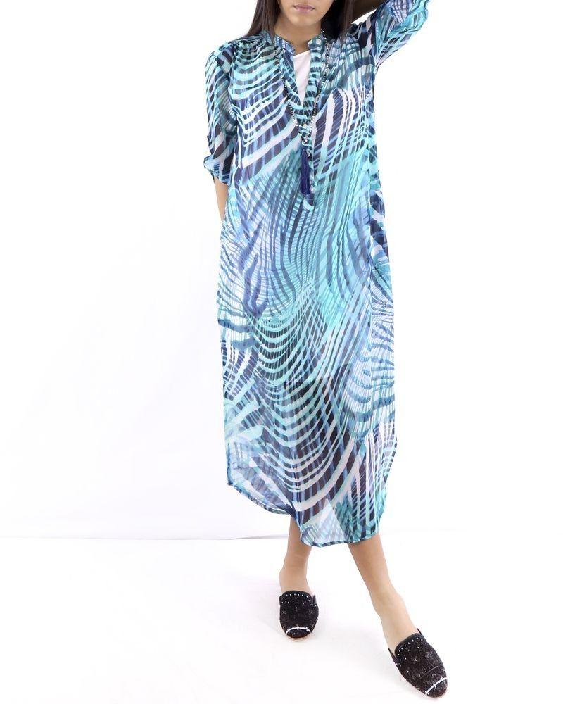 Robe Longue En Mousseline Bleu Turquoise Imprime Paradis Blanc Pas