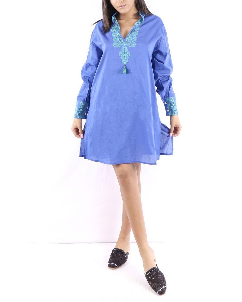 Tunique en coton bleu à broderie oriental Paradis Blanc
