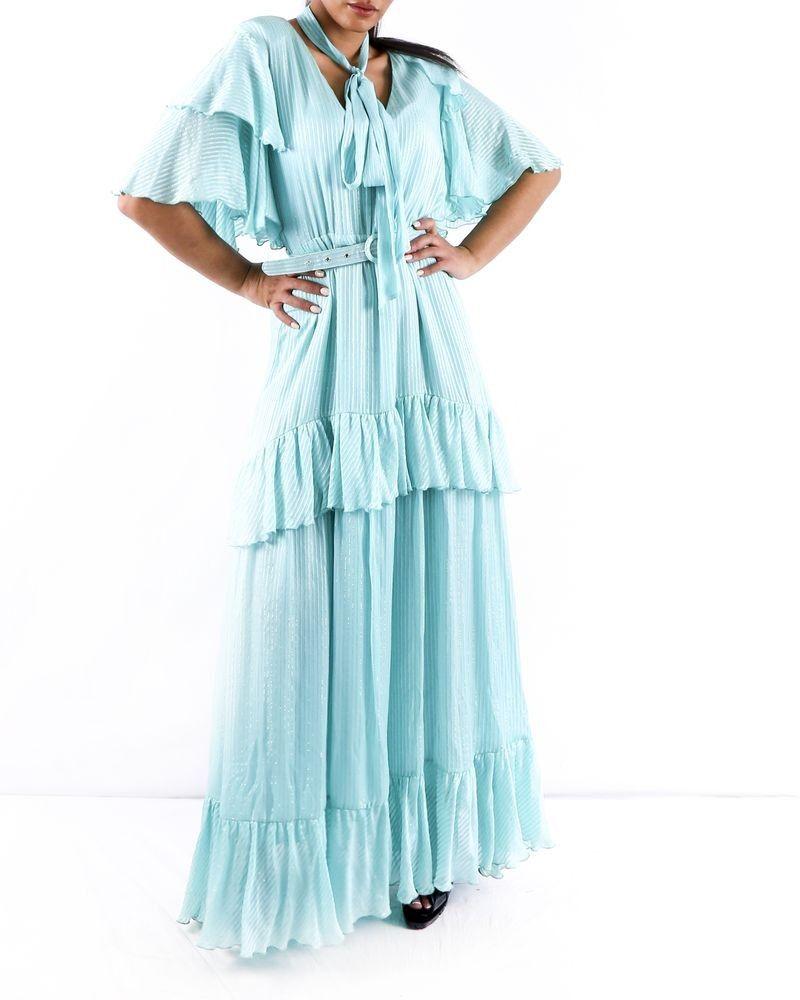 Robe Longue En Soie Bleu Turquoise Lame Volante Space Simona Corsel