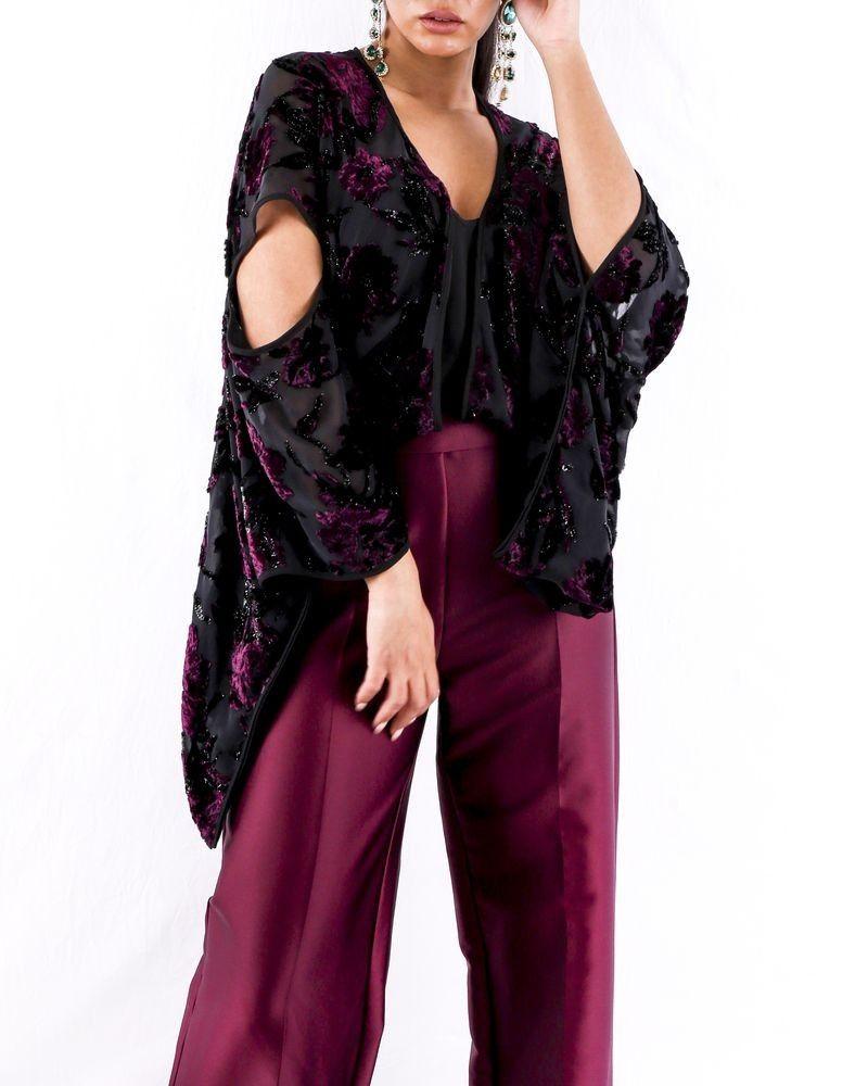Combinaison bi matière en soie violet Space Simona Corsellini