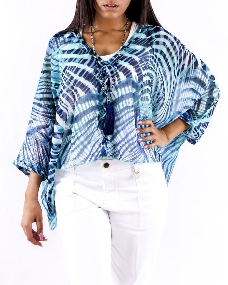 Blouse chauve souris en mousseline bleu imprimé Paradis Blanc