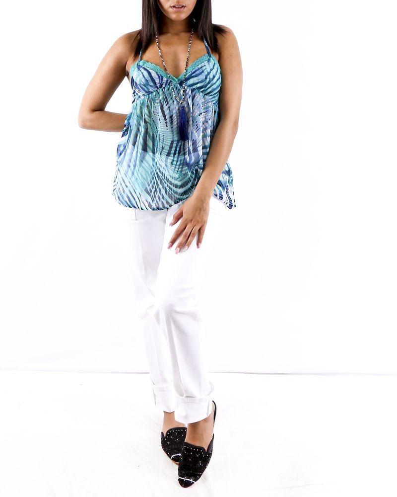Débardeur caraco en mousseline bleu imprimé Paradis Blanc