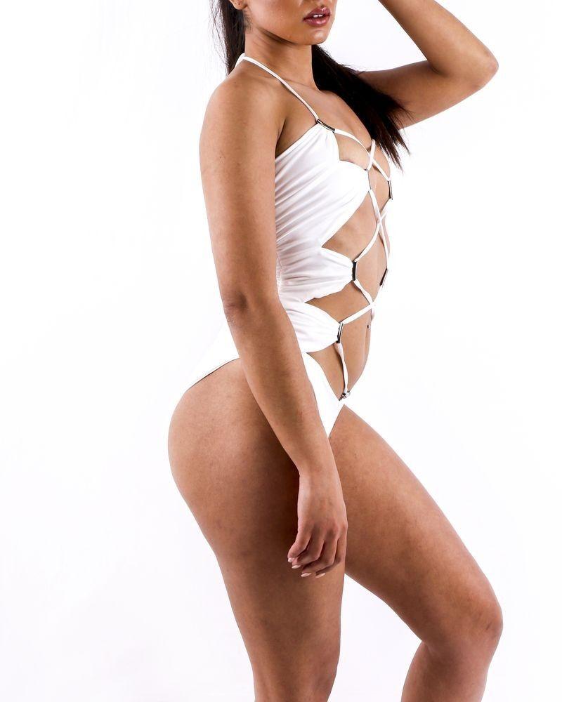 Trikini 1 pièce blanc à laçage Plein Sud