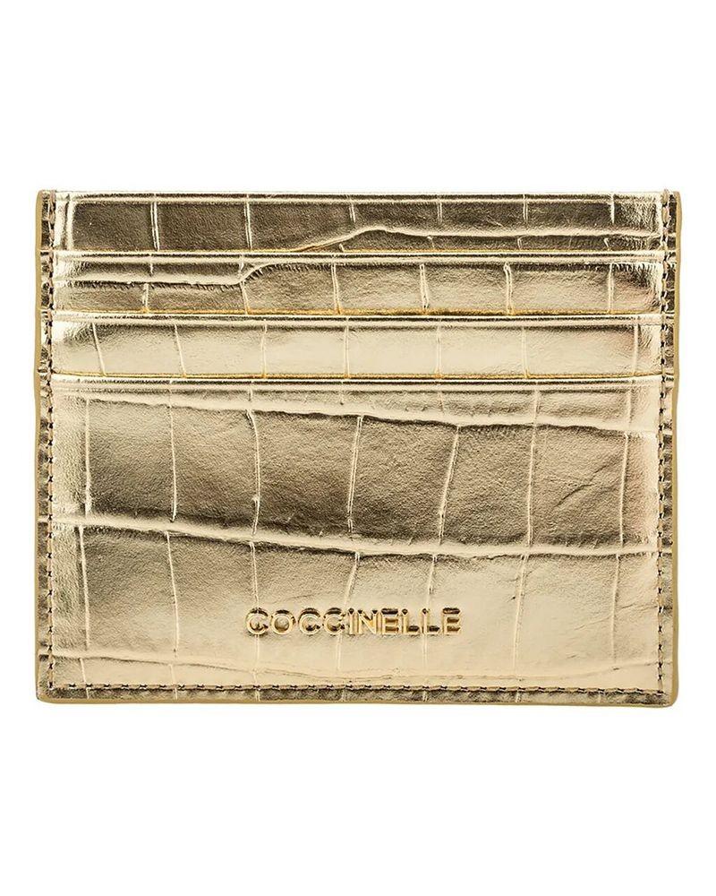 Porte carte en cuir dorée Coccinelle