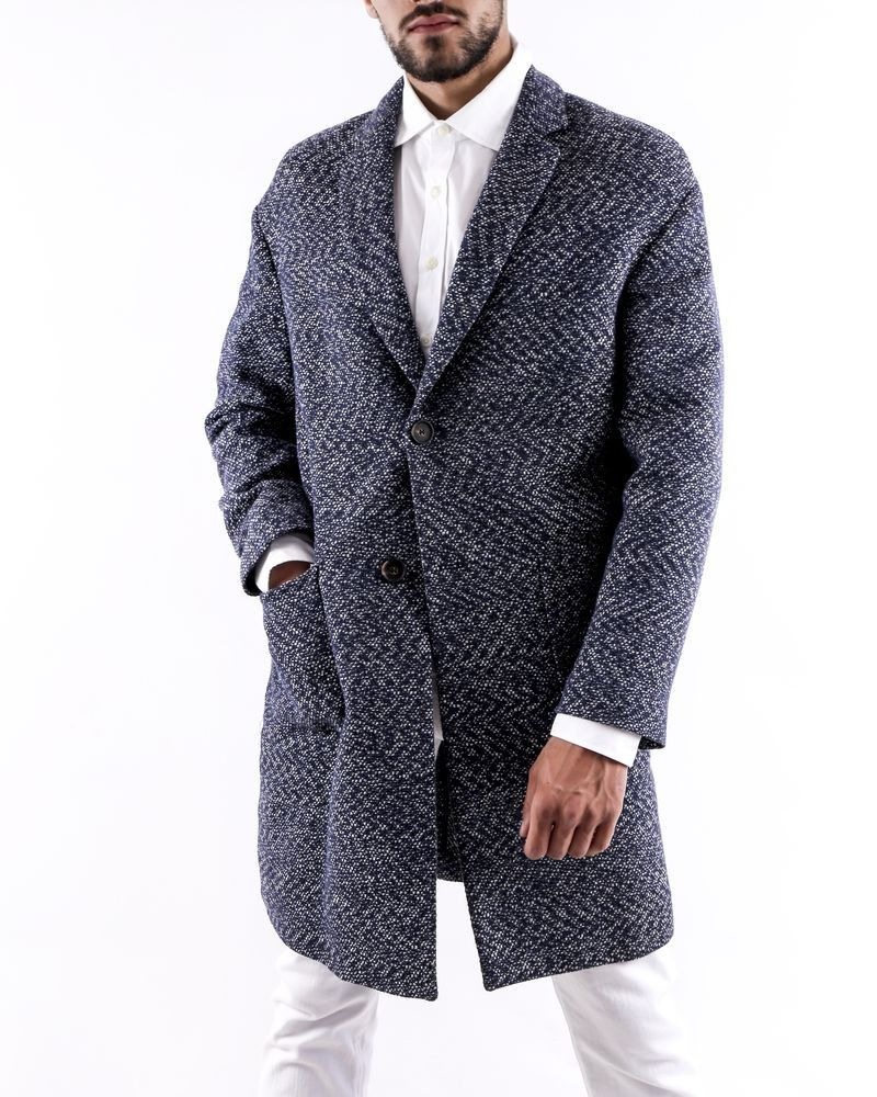 Manteau en coton bleu à motifs blanc Ly Adams