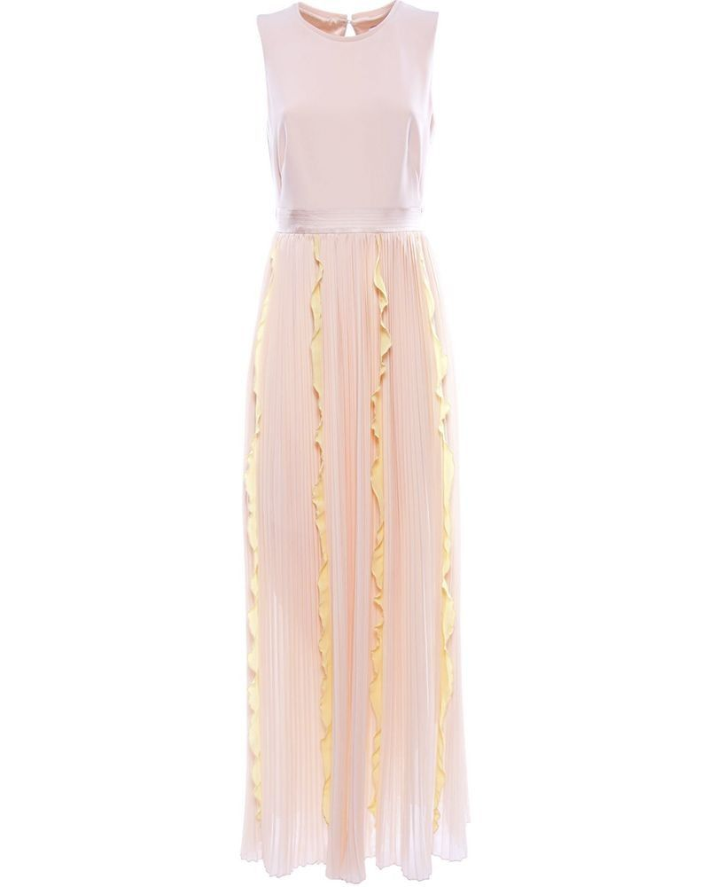 Robe en mousseline et crêpe rose à volants jaune Nenette