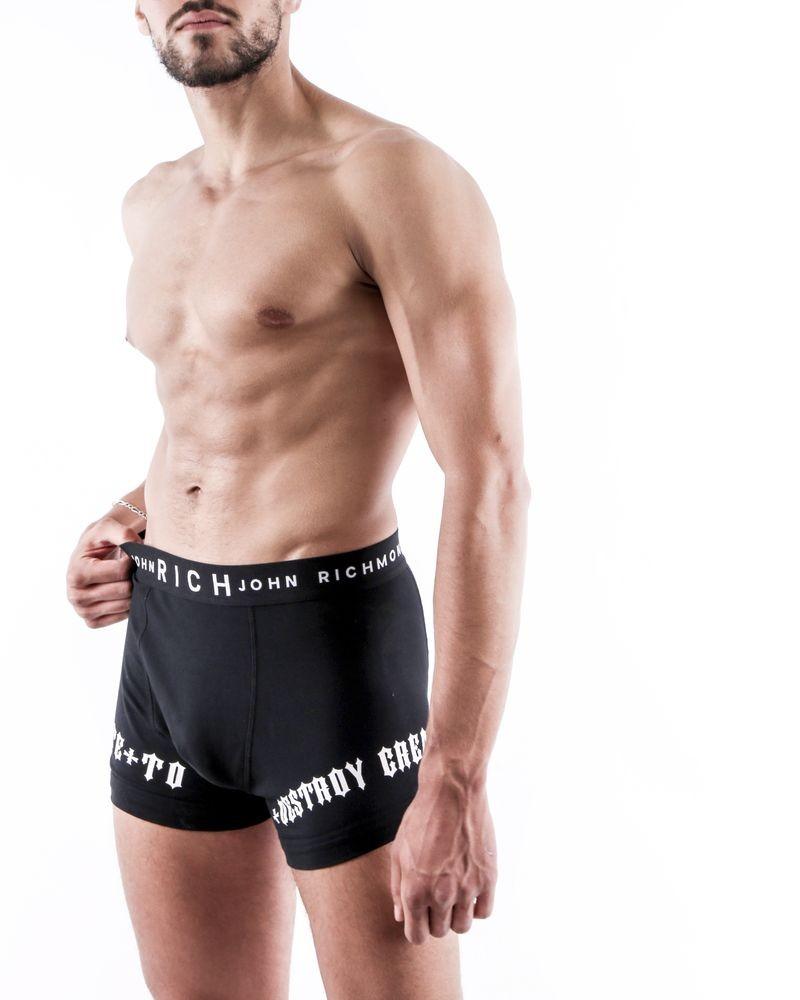 Boxer en jersey coton noir John Richmond