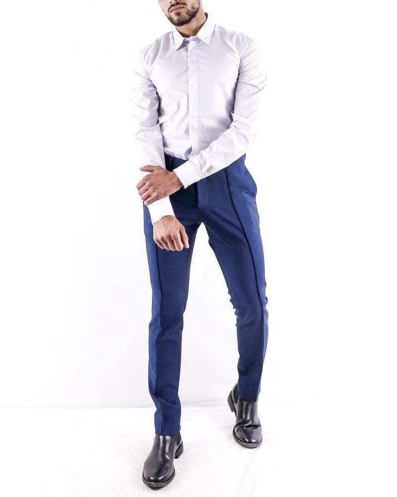 Pantalon slim fit en coton bleu à poches passepoilées Ly Adams