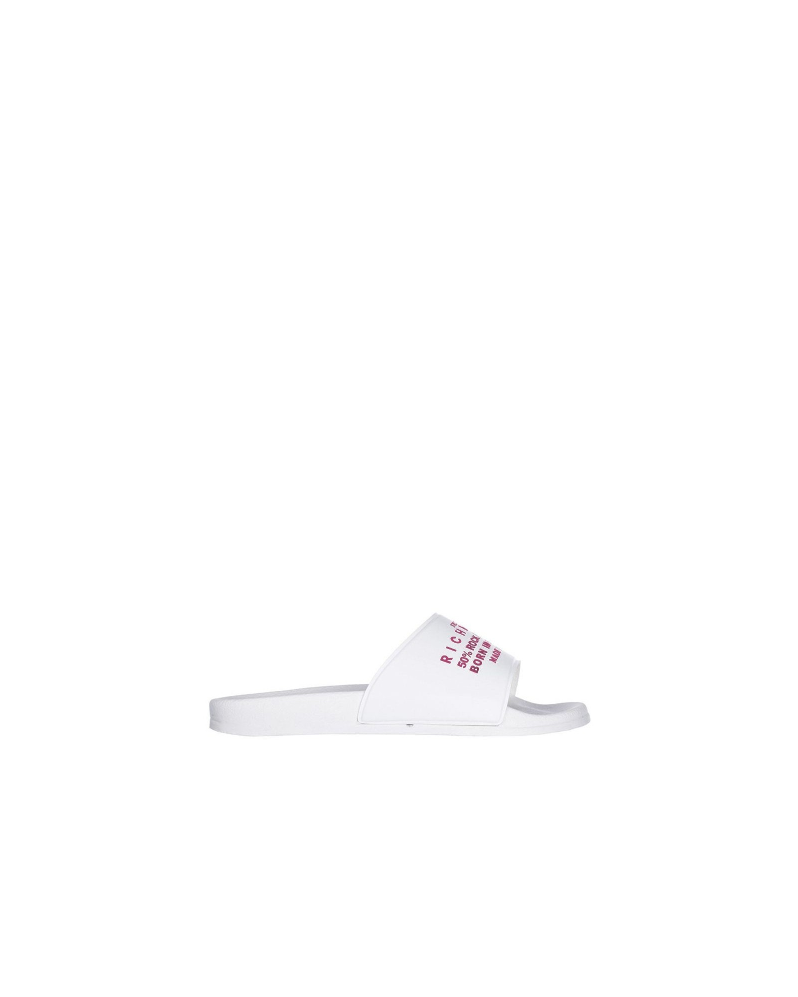 Sandale claquette en caoutchouc blanc à inscription Richmond rose John Richmond