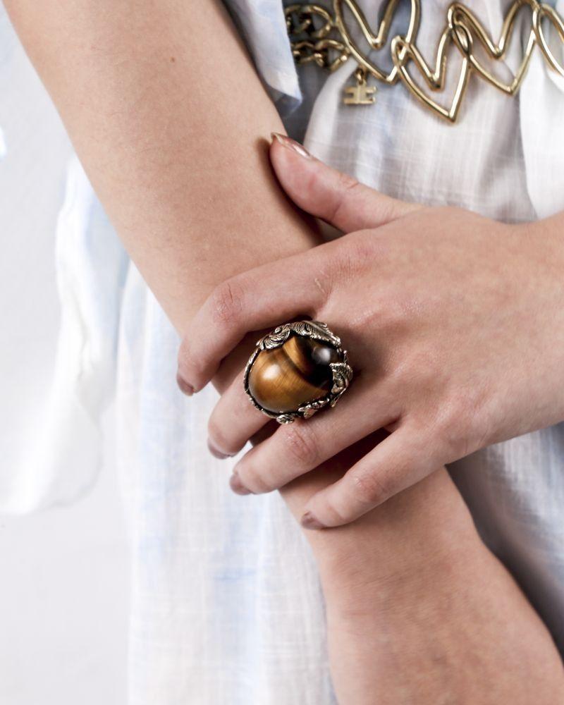 Bague XL en métal dorée gemme Roberto Cavalli