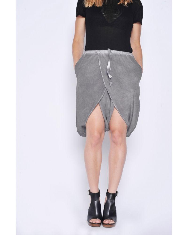 Short Sarouel court en soie gris