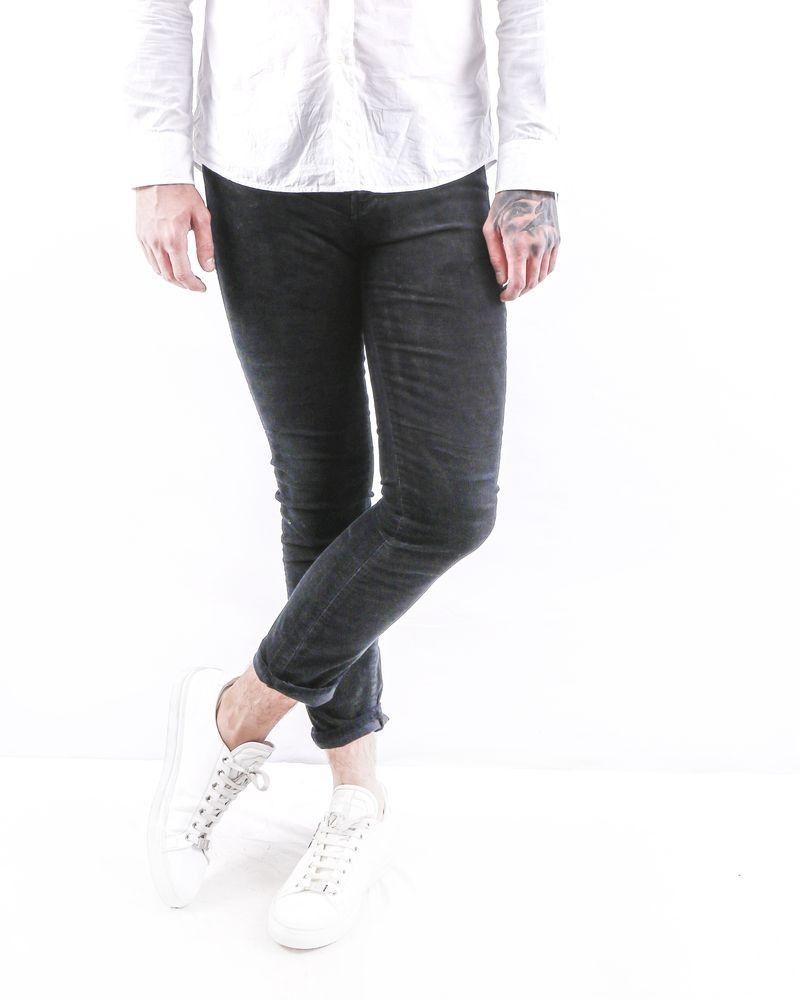 Jean skinny en coton noir effet velours