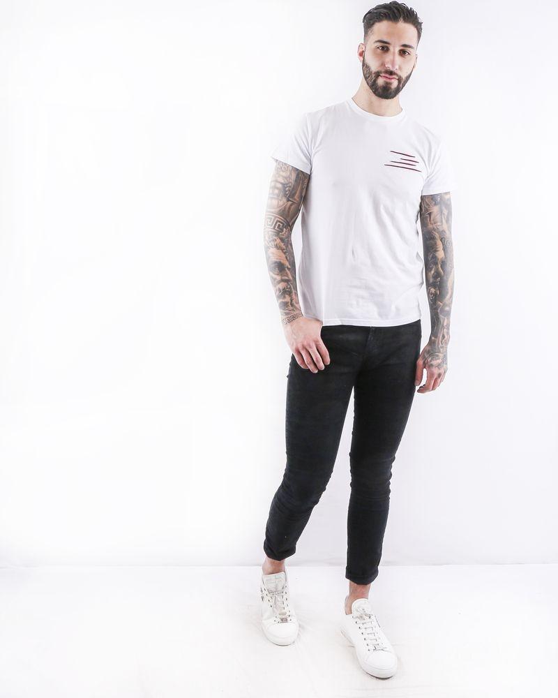 T shirt en coton blanc à broderie fantaisie Ly Adams