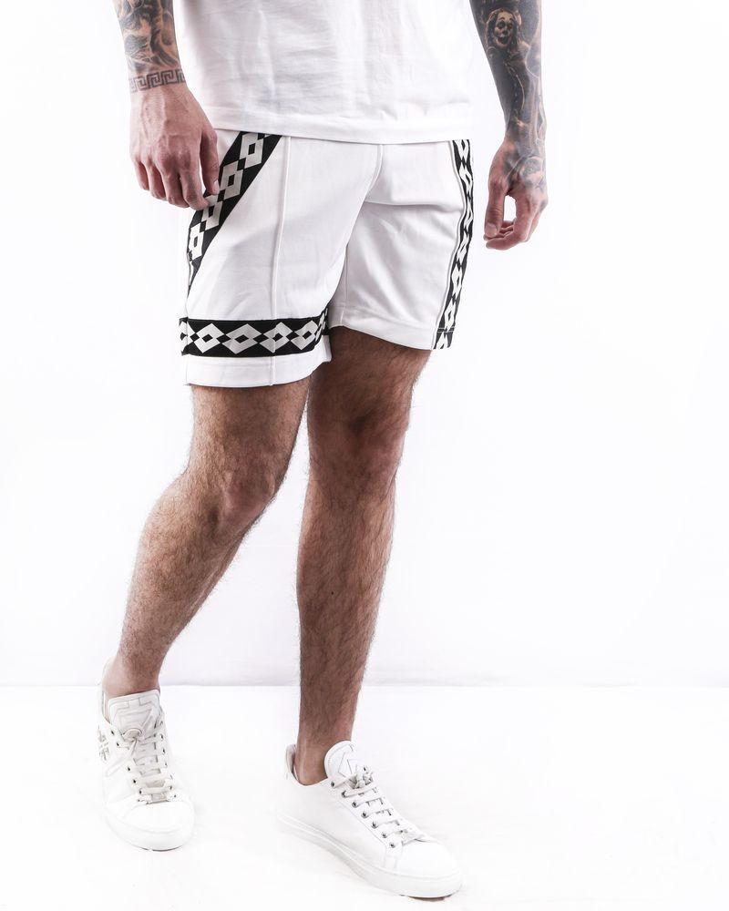 Short blanc à bandes latérales griffées Damir Doma