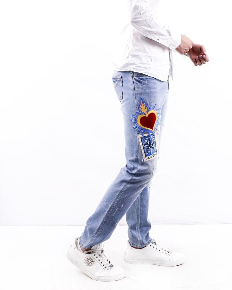 Jean skinny en coton bleu à patch Each Other