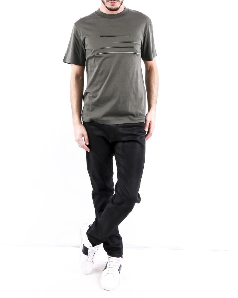 T shirt en coton kaki à broderie fantaisie Ly Adams