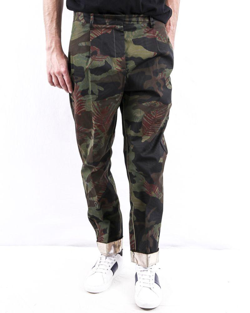 Pantalon cigarette kaki à imprimé camouflage Nude