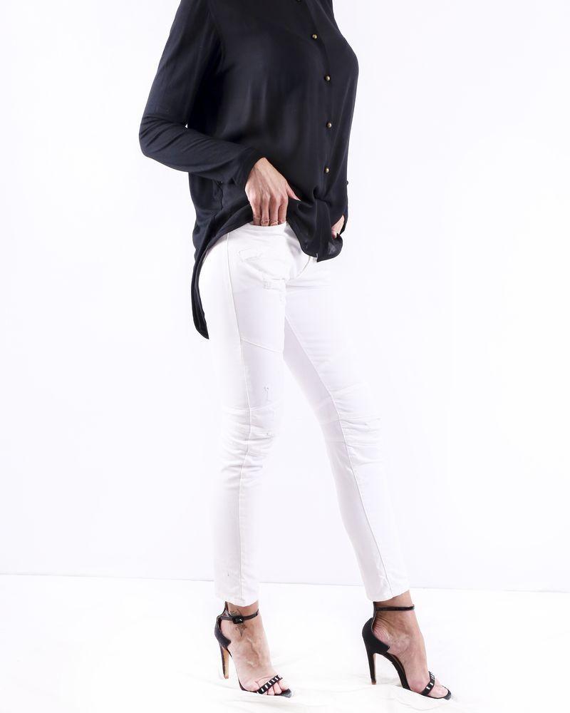Jean matelassées blanc à poches fantaisie Balmain