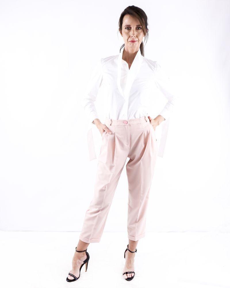 Pantalon à pinces rose à bandes latérales Jijil