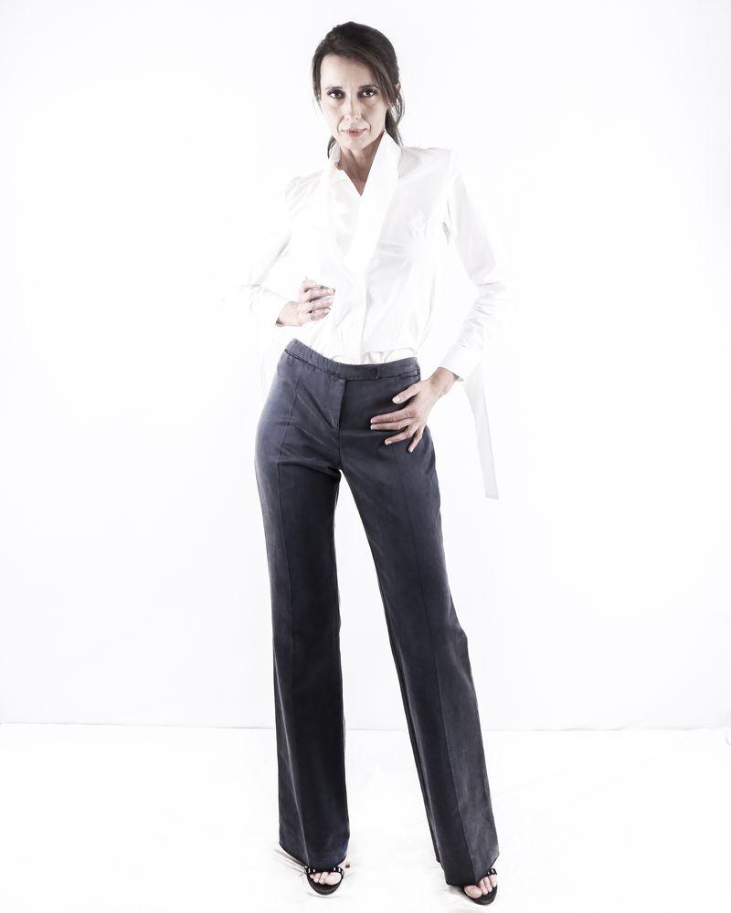 Pantalon taille haute peau de pêche gris Alexander McQueen