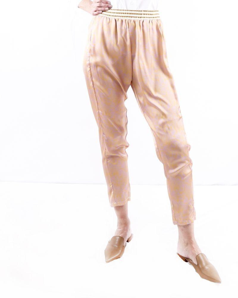 Pantalon smocké orange à motifs rose Liis Japan
