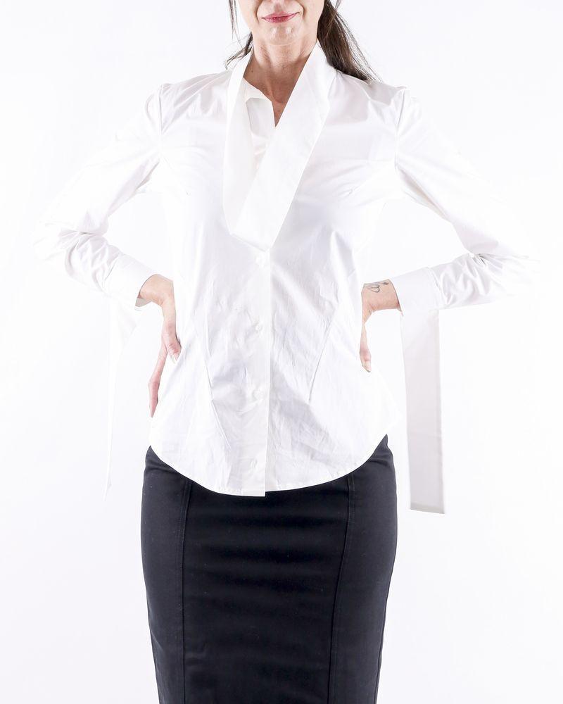 Chemise en coton blanc à col fantaisie Balossa