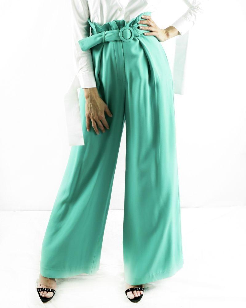 Pantalon culotte vert ceinturé Space Simona Corsellini