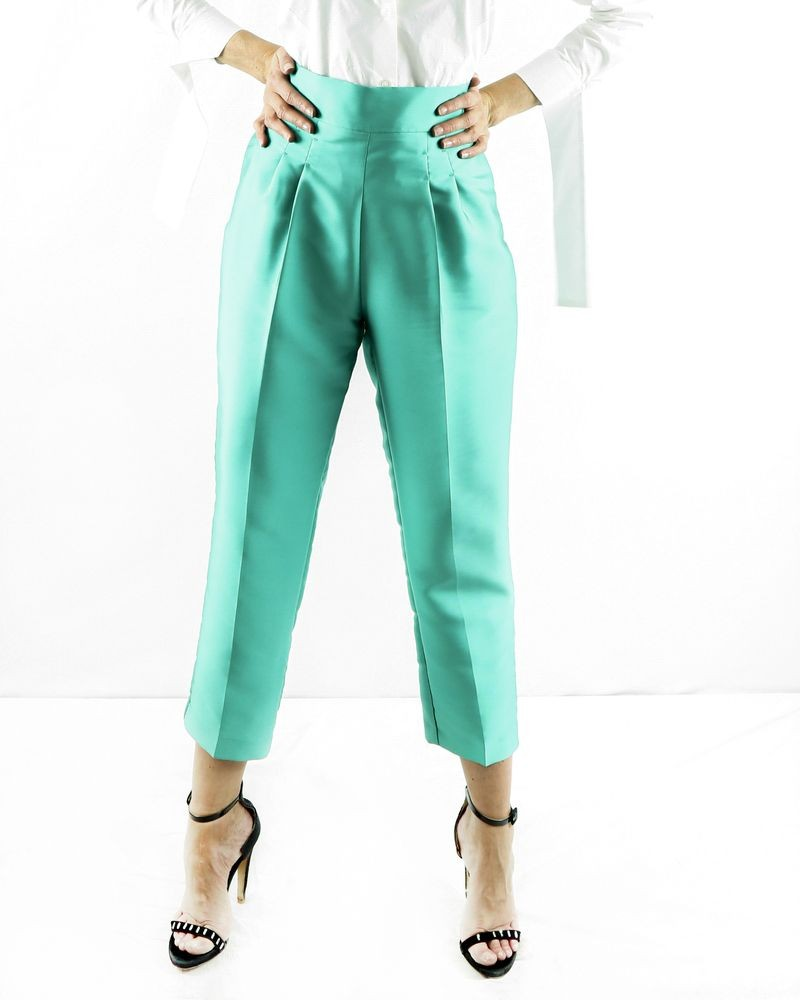 Pantalon taille haute en satin duchesse vert Space Simona Corsellini