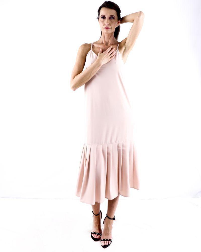 Robe longue sans manches en crêpe rose Jijil