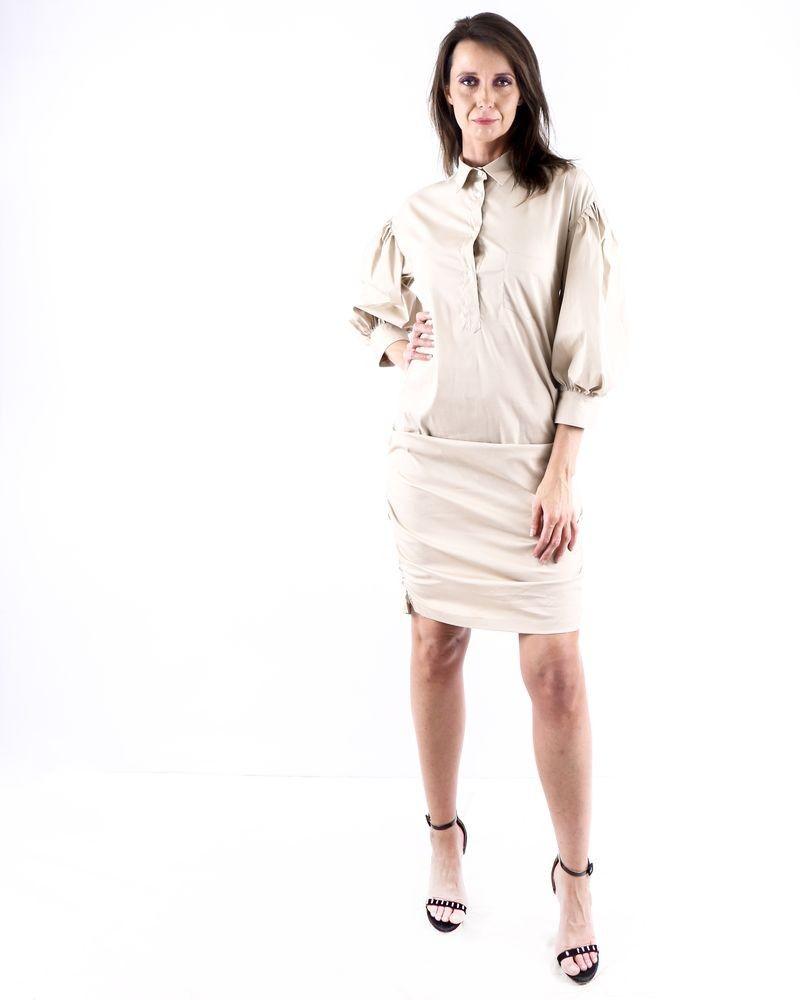 Robe chemise beige à détails froncé Sara Roka
