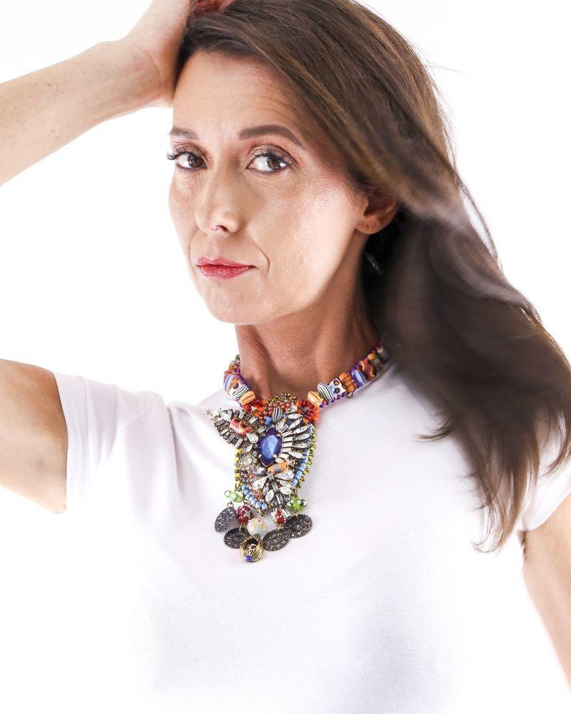 Collier ethniques à pierres et perles multicolores Erickson Beamon