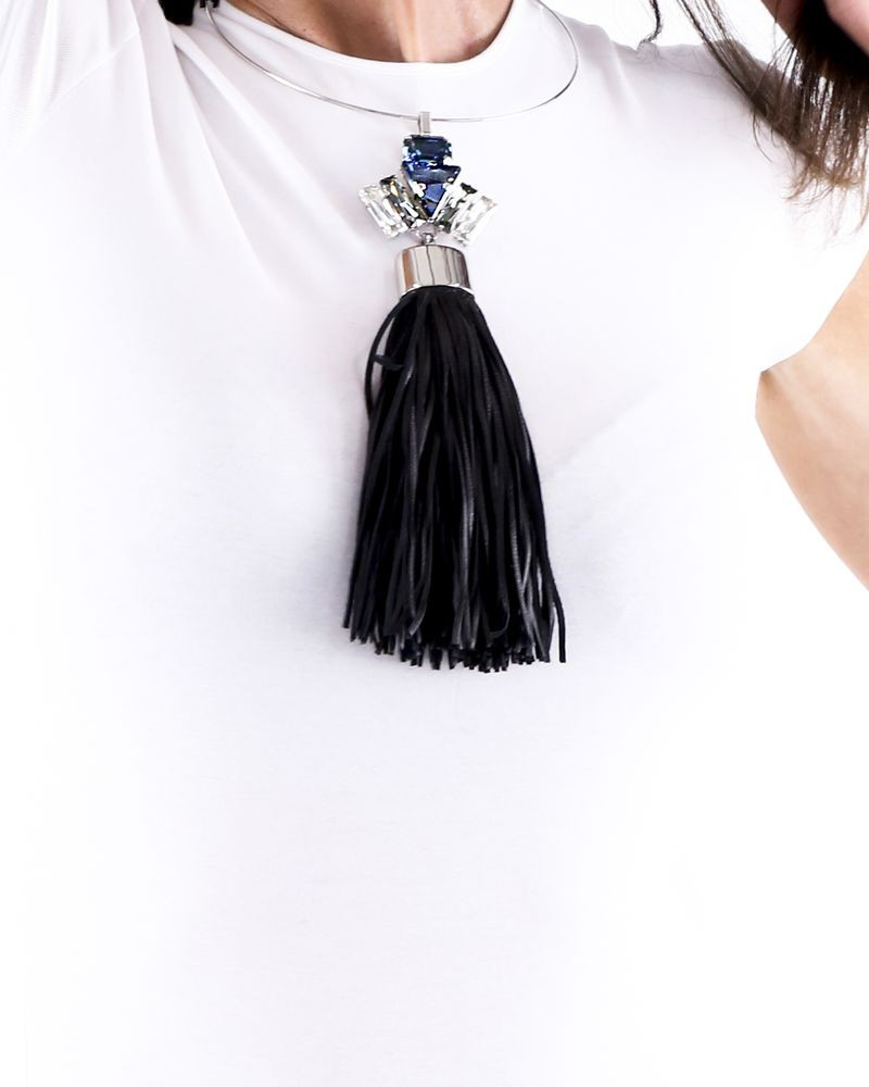 Collier à pierres et franges noires Helene Zubeldia