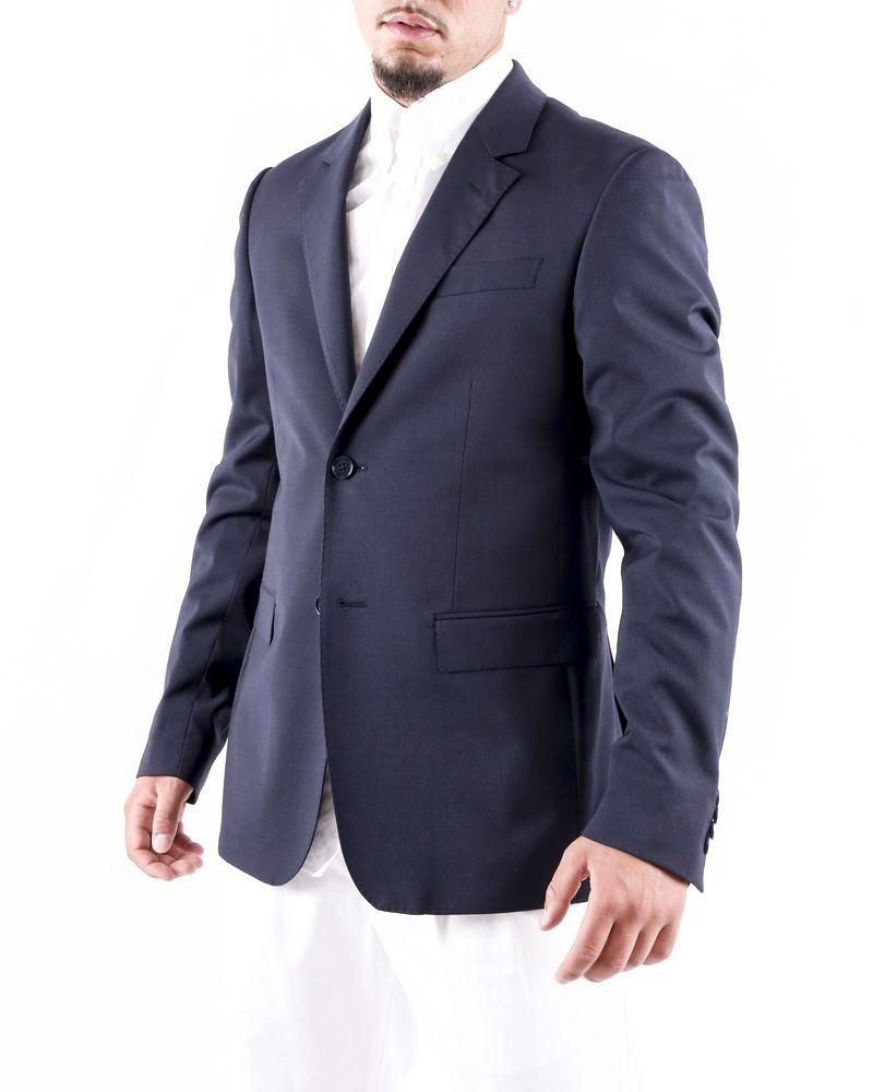 Veste de costume en laine noire à fines rayures Moschino