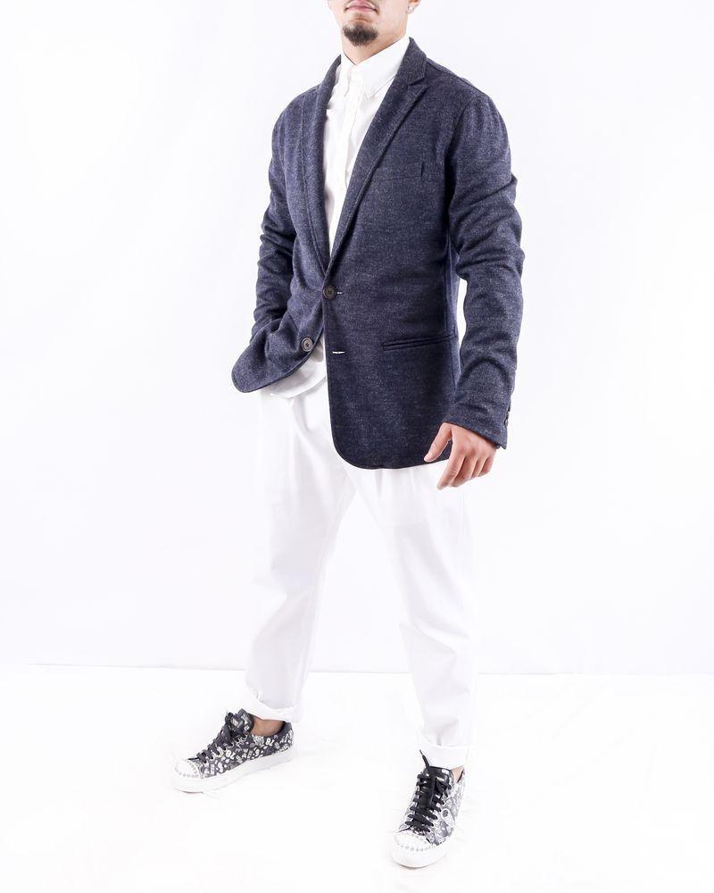 Veste en laine bleu texturé Armani
