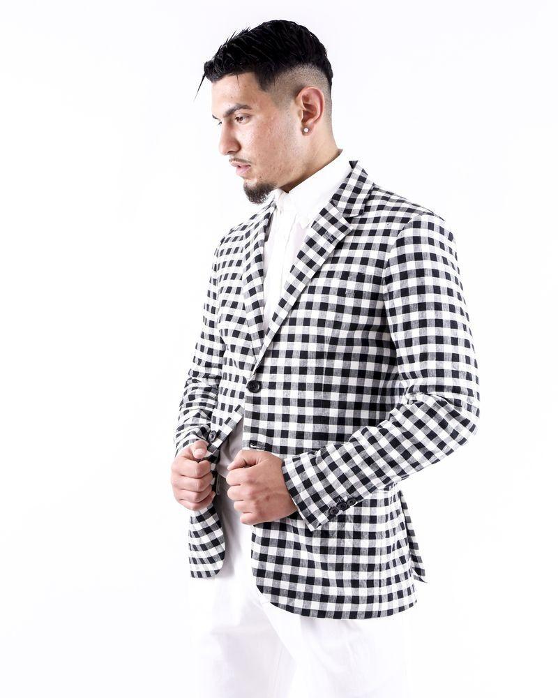 Veste légère en lin blanc à carreaux Department 5