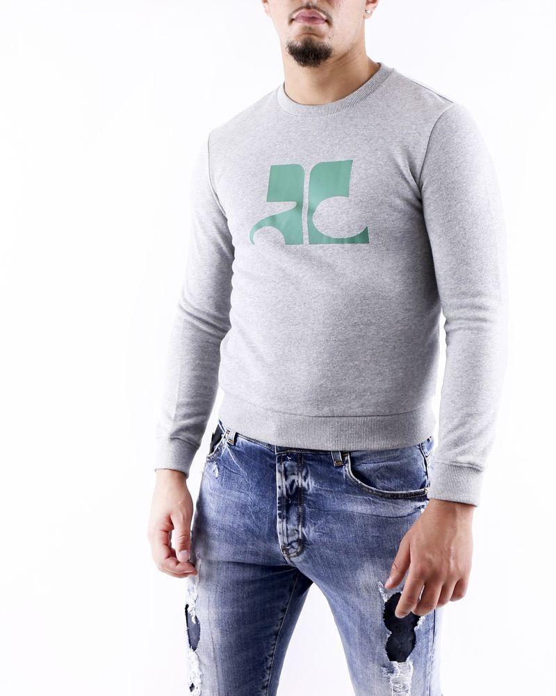 Sweat gris chiné à logo floqué vert Courrège