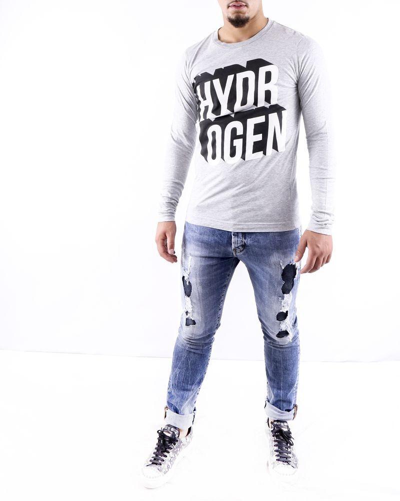 T shirt gris chiné à logo floqué Hydrogen