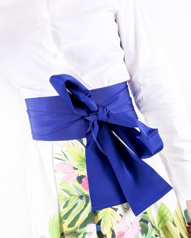 Ceinture kimono en coton bleu côtelé Sara Roka