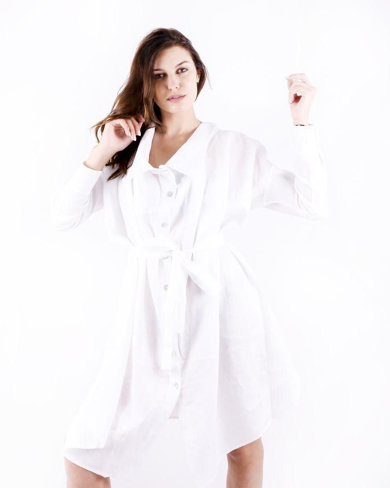 Robe chemisier déstructuré en lin blanc Balossa