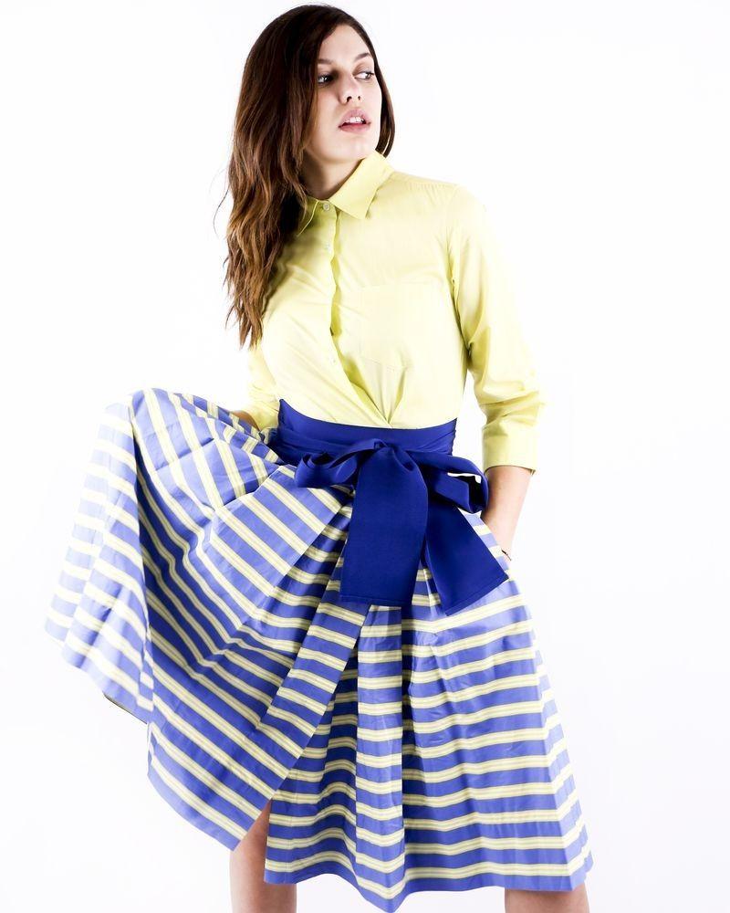 Robe chemise jaune imprimée à détails plissés Sara Roka