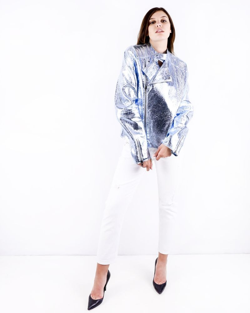 Perfecto en cuir métallisé bleu Galliano