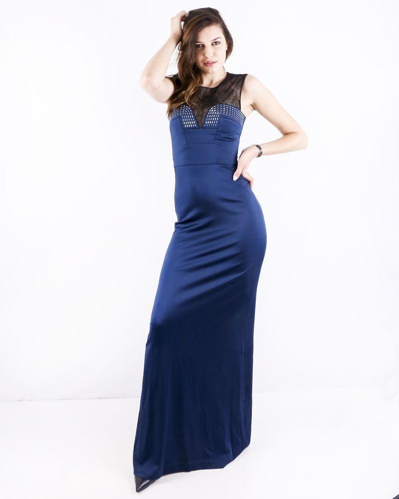 Robe de soirée sirène bi matière bleue à strass Roberto Cavalli