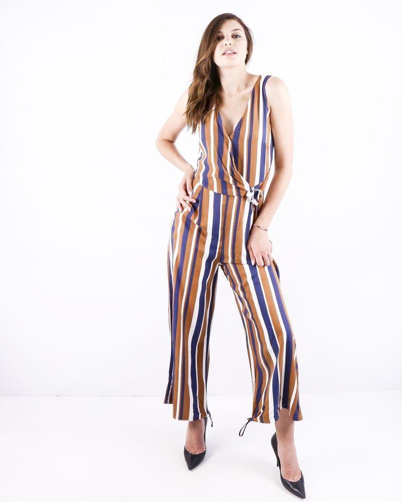 Combinaison pantalon en coton rayée blanc Miss Miss