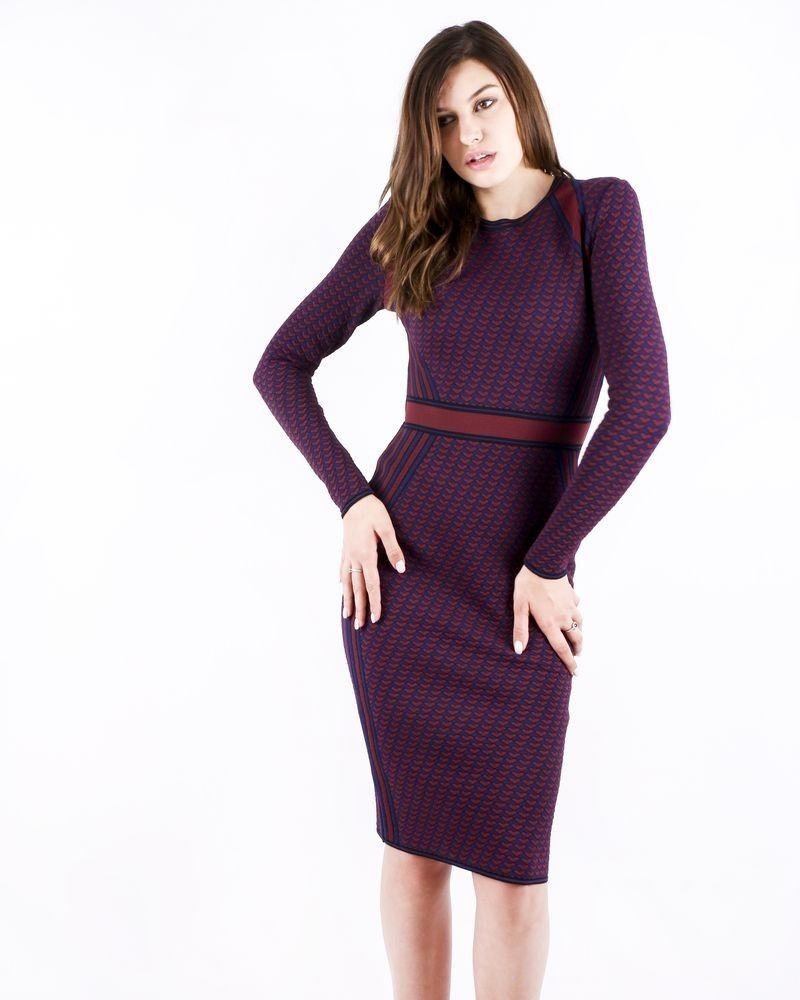 Robe moulante en maille bordeaux stretch Antonino Valenti